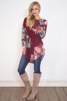 8b462c2d174ccc Next To You Long Sleeve Baby Doll Tunic In Burgundy Floral Filly Flair,  Shop Now