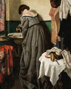 'A Theatre Dressing Room' (c.1935) by English painter Laura Knight (1877-1970). Oil on canvas, 74.3 x 62.9 cm. Collection: Glasgow Museums. via BBC
