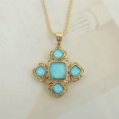BOLD AND BEAUTIFUL 14K YELLOW GOLD GEOMETRIC BYZANTINE STYLE BLUE PENDANT