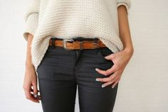 chunky cream sweater with navy Camisas Grandes c447936d2254