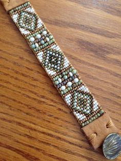 Sundance Style Hand Loomed Beaded Bracelet. Beautiful Blend of Sages and Moss Greens. Creams, Woodsy Browns and Just Enough Gold to Add Some