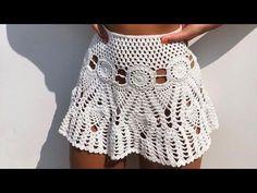 Crochet Skirt Pattern, Crochet Skirts, Crochet Patterns, Crochet Summer Tops, Crochet Crop Top, Crochet Bikini, Diy Crochet Projects, Crochet Diy, Crochet Baby Sweaters
