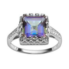 Sterling+Silver+Rainbow+Blue+Quartz+&+Lab-Created+White+Sapphire+Crown+Ring