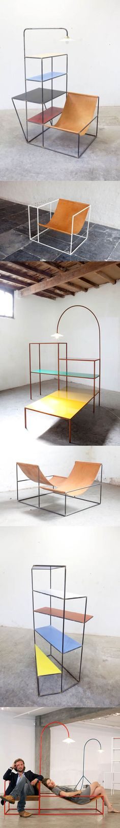Muller & van Severen / Installation S (2012) / Solo Seat Granito (2012) / Writing Desk + Low Table (2014) / Crossed double Seat (2012) / Writing Desk (2012) / Duo Seat + Lamp and Standing Lamp No.1 / Belgium / minimalism