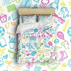camping theme bedding full size - Libaoge 4 Piece Bed Sheets Set, Back to School Theme, 1 Flat Sheet 1 Duvet Cover and 2 Pillow Cases *** You can find out more details at the link of the image. (This is an affiliate link) #CampingIdeas