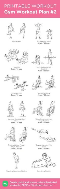 Gym Workout Plan #2: Legs. Instead of high knees do 5' warm up on treadmill, and at the end replace the abs with 10' HIIT on stationary bike followed by 5' low intensity for cool down before stretching. my custom printable workout by @WorkoutLabs #workoutlabs #customworkout by judith