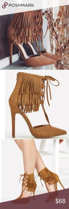 """Fringe Suede Pumps These pumps are about to put all the sway in your step! With a layered fringe shaft and lace up closure, they're sure to amp up any look.  New in the boxApprox. Heel Height: 4.5"""" Synthetic Upper Man Made Sole PRICE IS FIRM NO TRADES NO OFFERS Shoes Heels"""