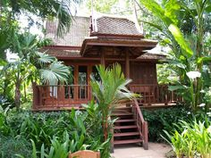 Bamboo House Design, Bungalow House Design, Thai House, Farm Stay, Wooden House, Tropical Houses, House Made, Big Houses, Cottage Homes