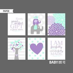 Lilac Purple Mint Grey Girl Nursery art prints by babyartprints