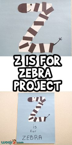Let's learn how to make this super cute Z is for Zebra Project! It's perfect for a Z letter lesson theme, or for an animal lesson too. Alphabet Letter Crafts, Preschool Letters, Alphabet For Kids, Letter Activities, Letter Art, Preschool Activities, Animal Crafts For Kids, Toddler Crafts, Kids Crafts