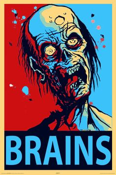 Zombie Brains Wall Poster