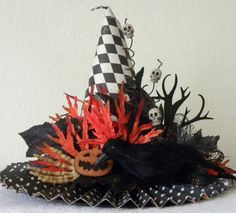 Checkerboard and decorated Halloween witch hat.   Halloween ideas