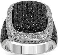 10K White Gold Mens Diamond Ring with Black Diamonds 6.50 Ctw