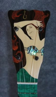 Headstock of Amy's Mermaid Ukulele