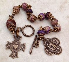 I handcraft heirloom quality gemstone rosaries in classical chain work. The rosary bead parts are vintage reproduction. Rosary Bracelet, Rosary Beads, Prayer Beads, Holy Rosary, Rosary Catholic, Catholic Art, Crystal Bracelets, Jewelry Bracelets, Jewellery