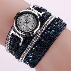 Retro Diamonds Bracelet Watch Women Fashion Leather Wrap Dress Watches Ladies Luxury Design Quartz Wrist Watch Relogio Reloj #JO