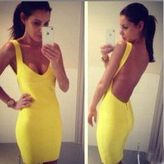 Yellow backless sexy dressAA