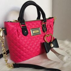 Betsey Johnson Pinch Fushia Satchel Crossbody Bag Pocketbook for sale online Fashion Handbags, Purses And Handbags, Fashion Bags, Betsey Johnson Handbags, Luxury Purses, Cute Purses, Beautiful Bags, Bag Accessories, Rockabilly Art