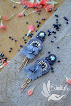 Soutache Earrings, Earrings Handmade, Women's Earrings, Jewelry Box, Jewelery, Silver Flowers, Classy Women, Shibori, Silver Color
