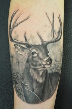 Black Ink Deer Tattoo Design   Fresh 2017 Tattoos Ideas