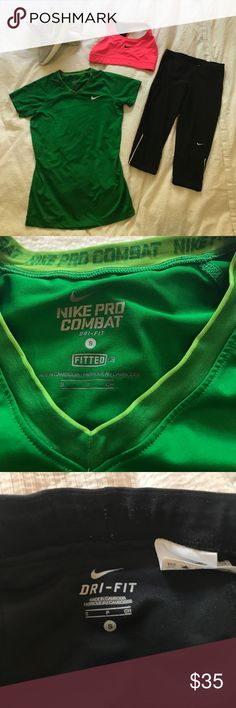 Nike dri fit combo small 1. Nike pro combat dri fit fitted shirt small (in great condition) 2. Nike dri fit Capri leggings small (some pilling, okay condition) 3. Nike sports bra small (great condition .... sneakers not included Nike Pants Leggings