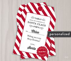 ** 1-day turnaround in effect through December 23rd; on December 24th, get FREE same-day turnaround for orders placed by 8:00 PM EST! (Will be delivered by the end of the night)**  PERSONALIZED CHRISTMAS GIFT TAGS FROM SANTA CLAUS (Printable Digital PDF file) Dont let your handwriting ruin the surprise! There will be no dispute over who left those lovely presents behind this year, as Santas elves made a set for each child. These bright gift tags will make a delightful addition to each…