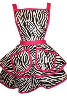 Betti Page Apron- Hot Pink & Zebra Safari