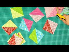 "Patchwork for beginners. 6 ways to sew a ""Square of two triangles."" HST in a quick way. - YouTube"