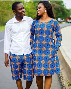 His & Hers African Shorts and Gown, African Long Sleeve Dress, African Male Shorts, African Couples Outfit by MyAnkaraLove on Etsy Couples African Outfits, African Wear Dresses, African Clothing For Men, African Shirts, African Fashion Ankara, Latest African Fashion Dresses, African Inspired Fashion, African Print Fashion, African Attire