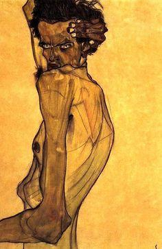Egon Schiele Self-Portrait-With-Arm-Twisting-Above-Head-large