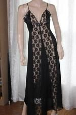 Vintage Val Mode Black Nylon Nightgown with Sheer Lace Panels - Small (4275)