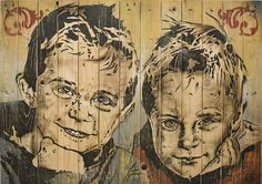 "Portrait Art on Wood Shipping Pallet Planks - ""NICK AND SEM"" by Ron de Vos, via Flickr"
