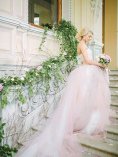 Rose quartz blush pink wedding dress | Rodion Shapor Photography | see more on: http://burnettsboards.com/2015/12/fairytale-rose-quartz-wedding-inspiration/