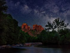 https://flic.kr/p/JSWR43 | Stargazing In Sedona | The Milky Way rises over Cathedral Rock and Oak Creek in Sedona, AZ. This is a single shot with the landscape lit by a less than quarter moon.
