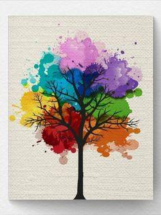 Chakra Rainbow Tree Wall Art Print, Tree Nature Home Decor, Splatter Tree Art, Print Watercolor Paintings For Beginners, Beginner Painting, Watercolor Art, Poster Color Painting, Chakra Art, Rainbow Painting, Diy Canvas Art, Acrylic Canvas, Tree Art