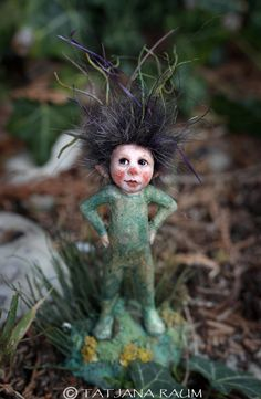 Cheeky mini pixie miniature artdoll by Tatjana Raum