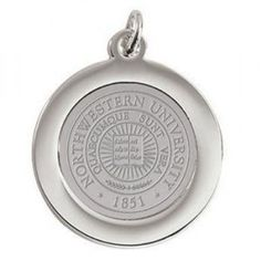 "Northwestern Wildcats Seal Design Silver Medallion Pendant Charm, Silver Tone Plated, 3/4"" Diameter"