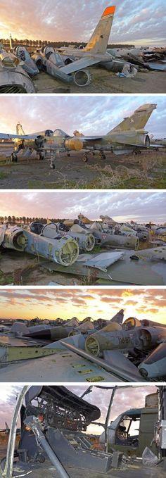 A vast abandoned military airplane graveyard in France known to urban explorers as La Casse Mirage
