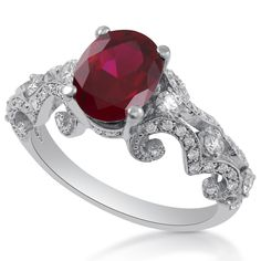 Oval Cut Red Ruby & Diamonds Ornate Antique Style Engagement Ring RU700