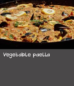 Vegetable paella | For Pablo, this is the dish of Spain, often cooked in the fields at lunchtime over an open fire. As a vegetarian, Pablo uses tomato juice rather than meat-based stock in his recipe, but it can include anything you want. The secret to good paella is the socarrat (bottom crust) and smoked paprika. Thai Recipes, Fish Recipes, Lunch Recipes, Baking Recipes, Vegetarian Recipes, Oven Baked Fish, Stock Recipe, Seafood Paella, Tomato Juice