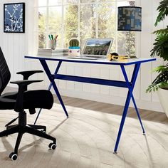 LexMod - Expound Office Desk in Blue
