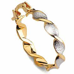 Arete rizado dos tonos - G23401 13,00€  Arete torneado dorado/plata, gold filled. Dimensiones: diámetro 21 mm, peso 1,8 gr.