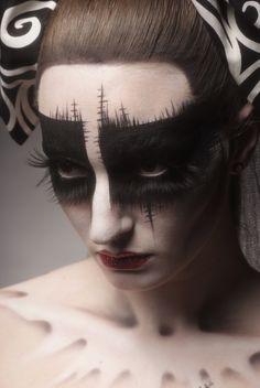 Black mask. Long lashes.