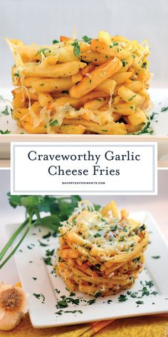 Garlic Cheese Fries - A Homemade French Fries Recipe - This Garlic Cheese Fries recipe is a stunning tower of cheesy, garlicky, crispy French fries. Make your own in 30 minutes! Garlic French Fries, Crispy French Fries, Loaded French Fries Recipe, Homemade French Fries, Homemade Fries, Garlic Cheese, Potato Recipes, Cooking Recipes, Cooking Chips