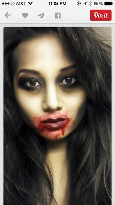 Makeup for halloween at work yes i can do it myself i a fan of the understated makeup with a bloody mouth solutioingenieria Images