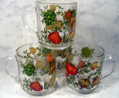 Corning Ware Corelle Spice of Life Mugs Set of 4 Coffee Cup Glass Arcoroc France