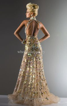 2013 DHgate Sexy Prom Dresses New Elegant Gold Crystals High Collar Backless Evening Dresses 113C4