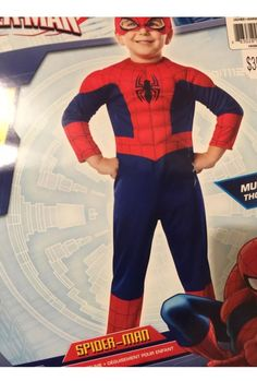 SpiderMan Costume Boys Size 2-4 Toddler Muscle Padded Area Playtime    eBay
