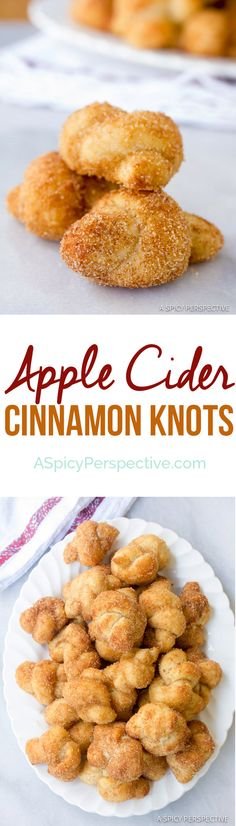 Apple Cider Cinnamon Knots are perfect for fall parties! This soft sweet cinnamon knot recipe is kissed with apple cider flavor and coated with cinnamon Köstliche Desserts, Sweets Recipes, Apple Recipes, Fall Recipes, Delicious Desserts, Cooking Recipes, Yummy Food, What's Cooking, Candy Recipes