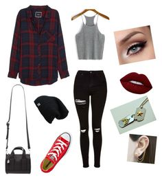 """""""More college clothes"""" by iamfearless156 on Polyvore featuring Topshop, Rails, Converse, Forever 21, Lime Crime and Embers Gemstone Jewellery"""
